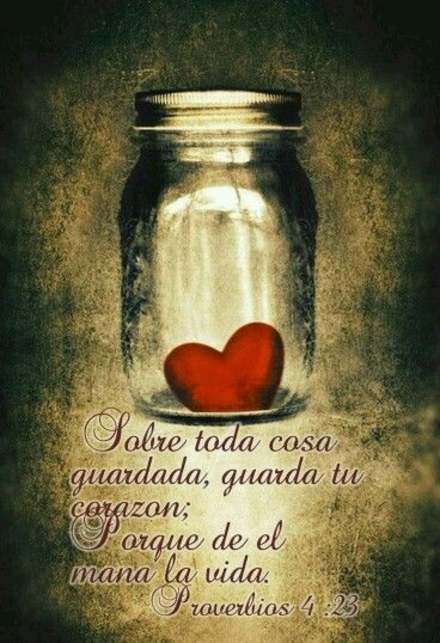 Sobre toda cosa guardada, guarda tu corazon; porque de el mana la vida.