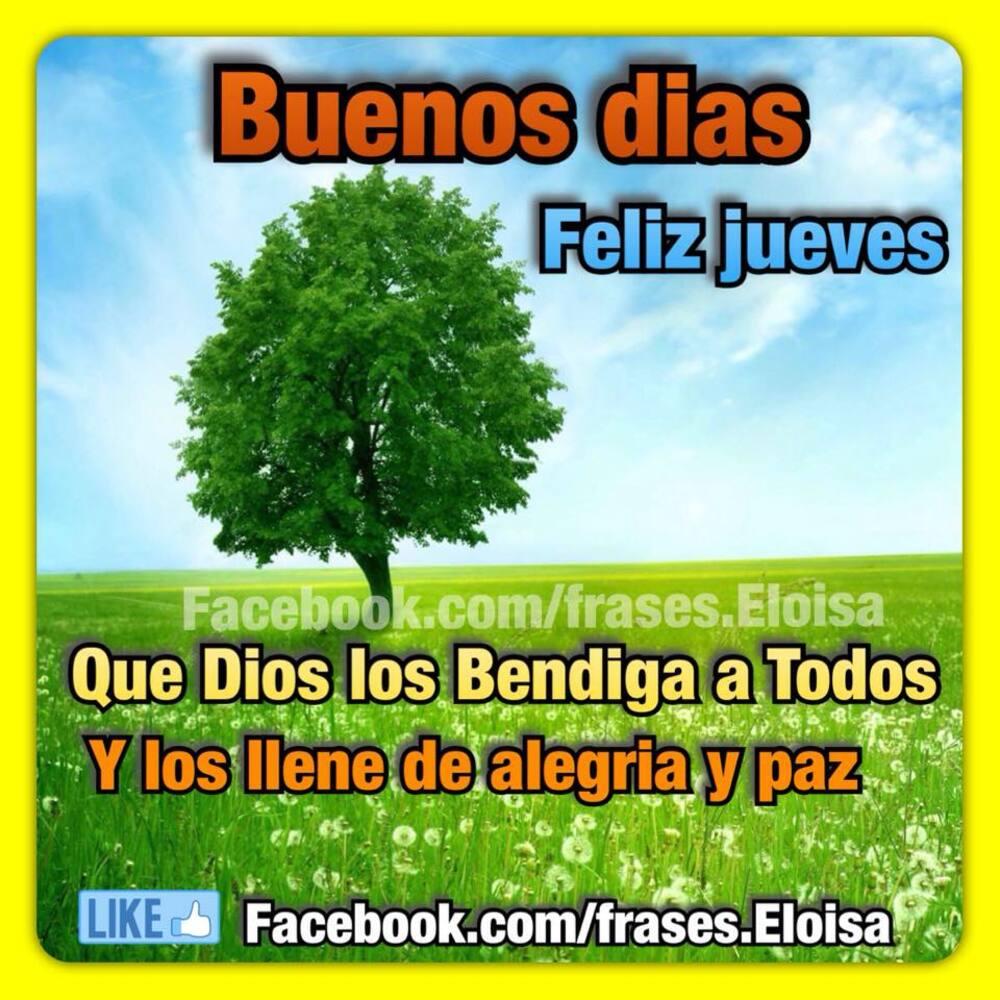 Buenos días feliz jueves Que Dios los bendiga a todos y los llene de alegria y paz