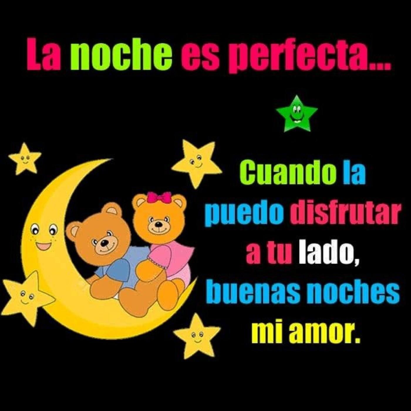 La noche es perfecta...cuando la puedo disfrutar a tu lado, buenas noches mi amor