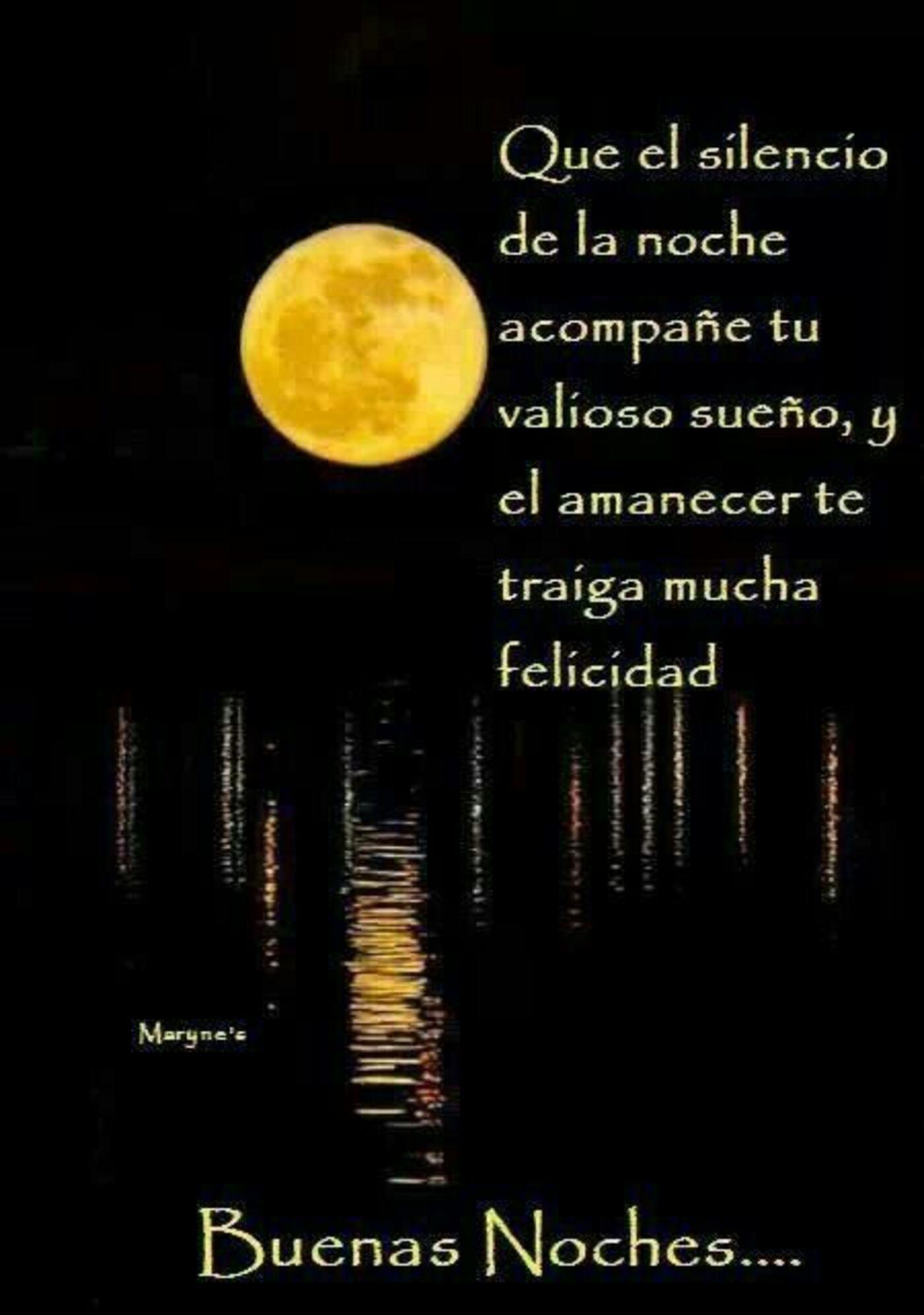 Que el silencio de la noche acompañé tu valioso sueño, y el amanecer te traiga mucha felicidad...Buenas noches
