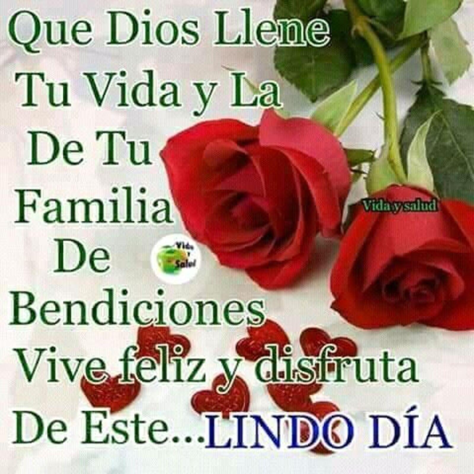 Que Dios llene tu vida y la de tu familia de bendiciones vive feliz y disfruta de este lindo día