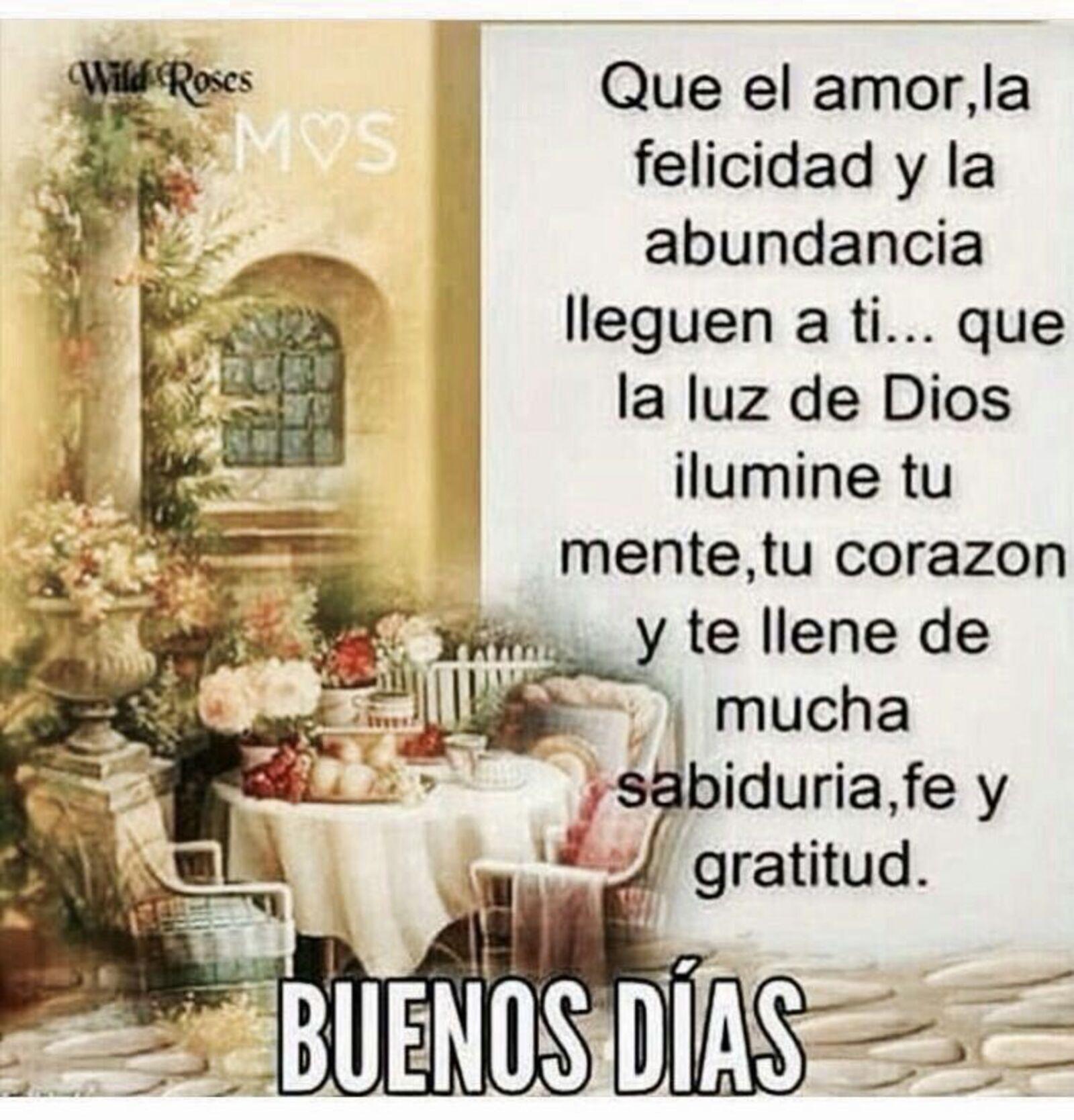 Que el amor, la felicidad y la abundancia llegue a ti...Que la luz de Dios ilumine tu mente, tu corazón y te llene de mucha sabiduria, fe y gratitud. Buenos días