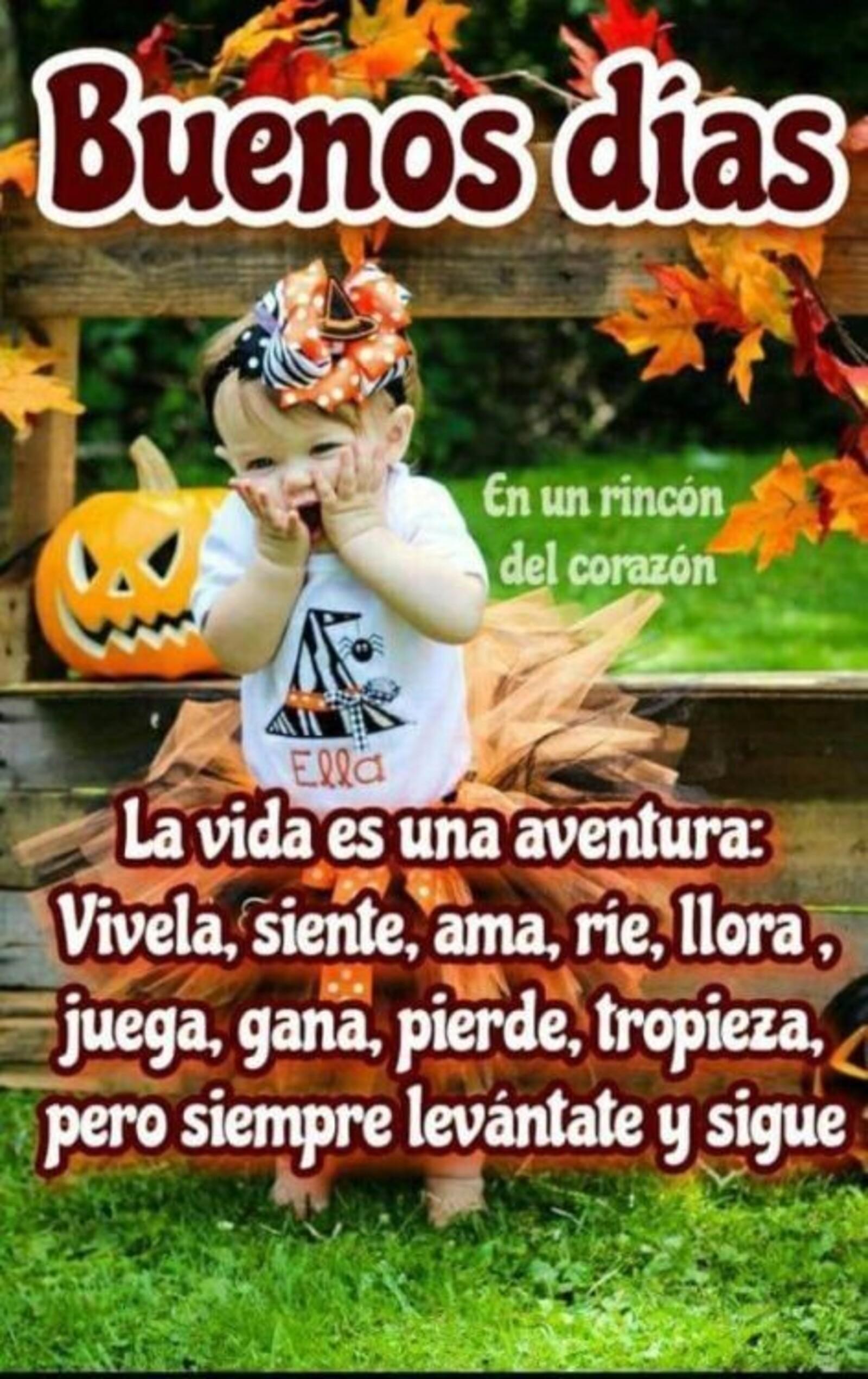 Buenos días la vida es una aventura: vivela, siente, ama, rie, llora, juega, gana, pierde, tropieza, pero siempre levantate y sigue