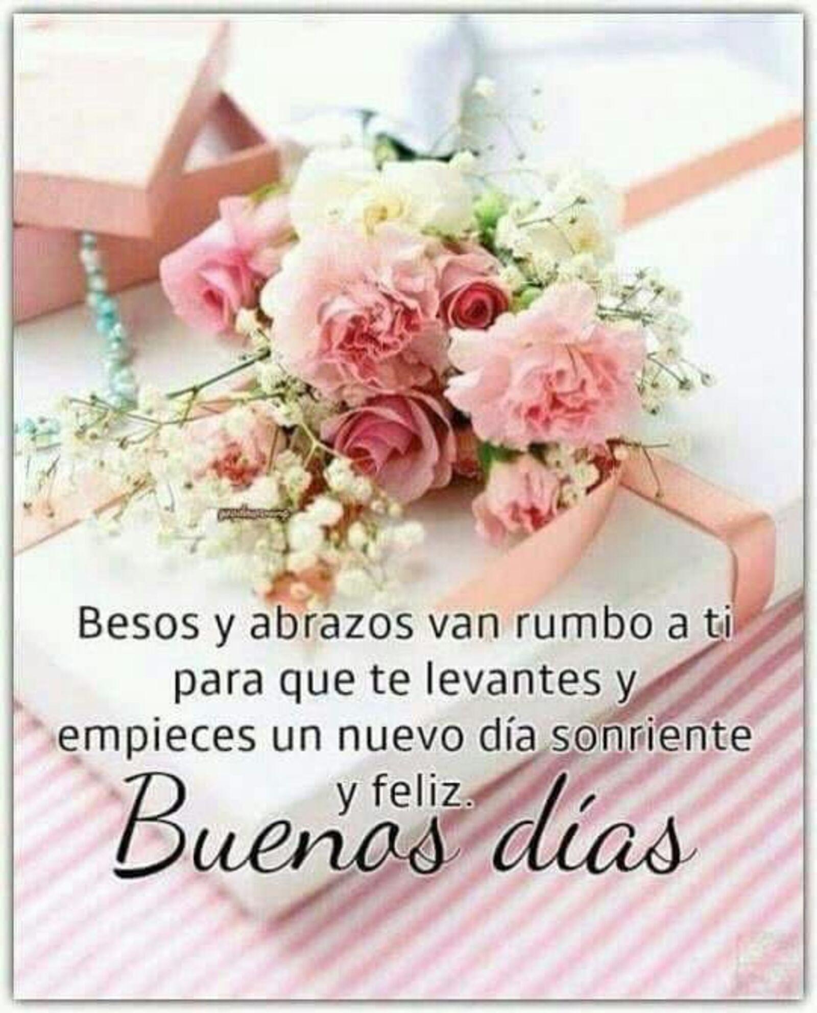 Besos y abrazos van rumbo a ti para que te levantes y empieces un nuevo día sonriente y feliz. Buenos días