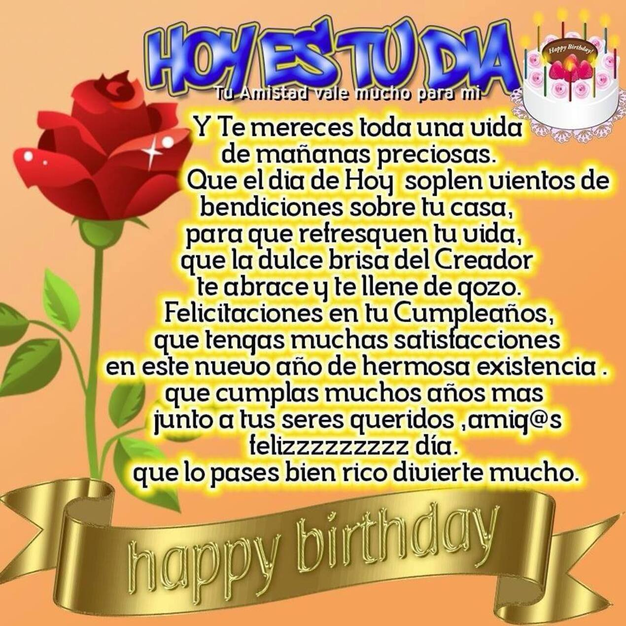 Feliz cumpleaños con hermosa frase