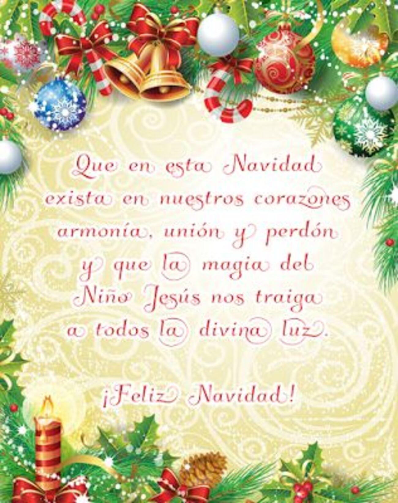 Que en esta Navidad exista en nuestros corazones armonía, unión y perdón y que la magia del Niño Jesus  nos traiga a todos la divina luz. Feliz Navidad!