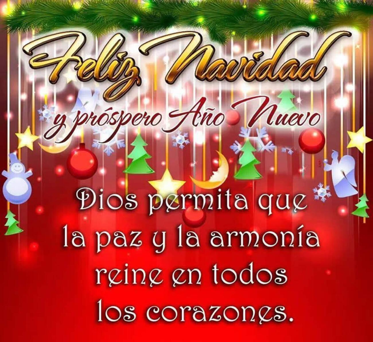 Feliz Navidad y Próspero Año Nuevo Dios permita que la paz y la armonía reine en todos los corazones
