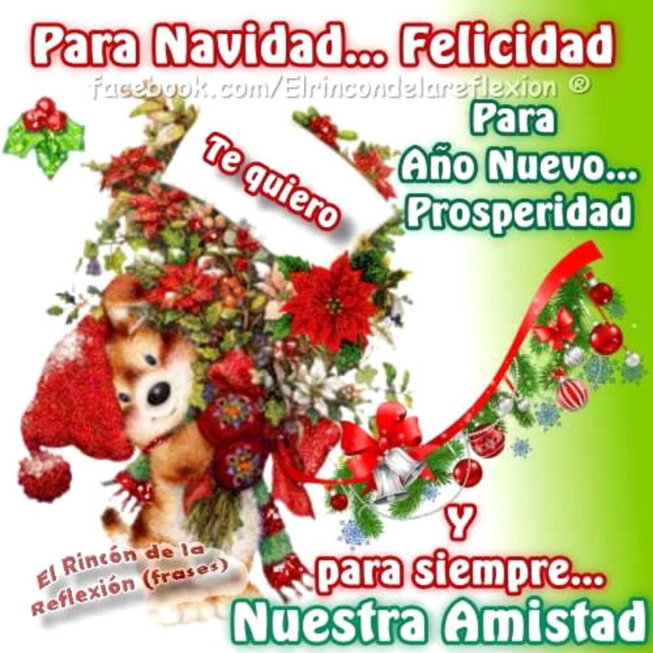 Para Navidad...Felicidad para año nuevo...prosperidad y para siempre nuestra amistad