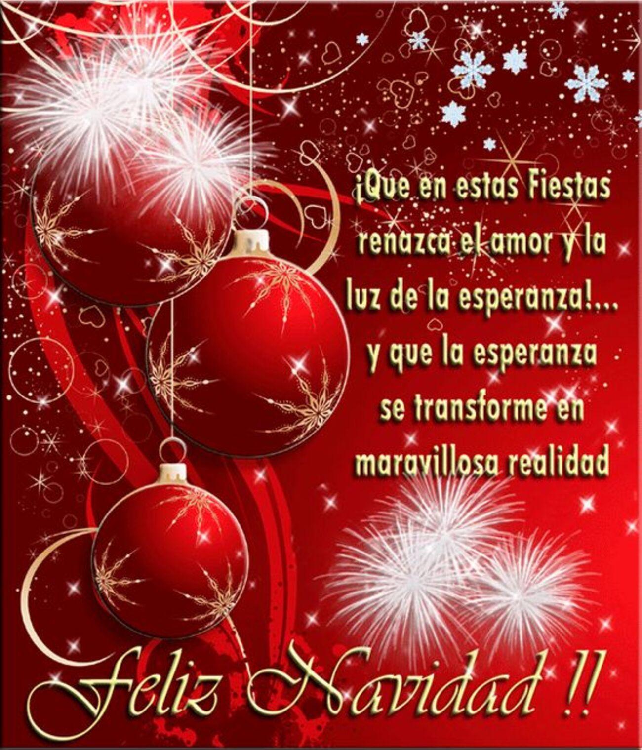 Que en esta fiestas renazca el amor y la luz de la esperanza...Y que la esperanza se transforme en maravillosa realidad. Feliz Navidad!