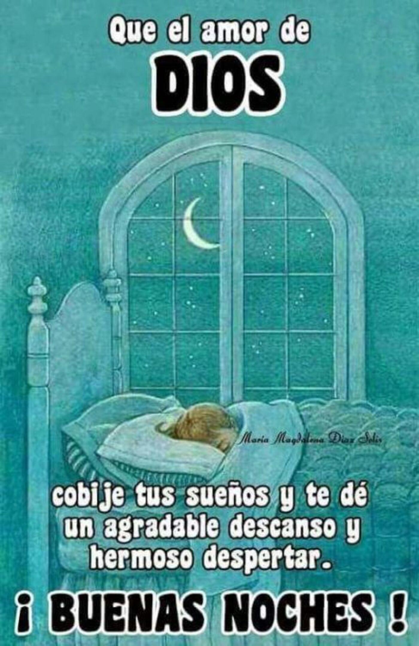 Que el amor de Dios cobije tus sueños y te dé un agradable descanso y hermoso despertar. Buenas Noches!