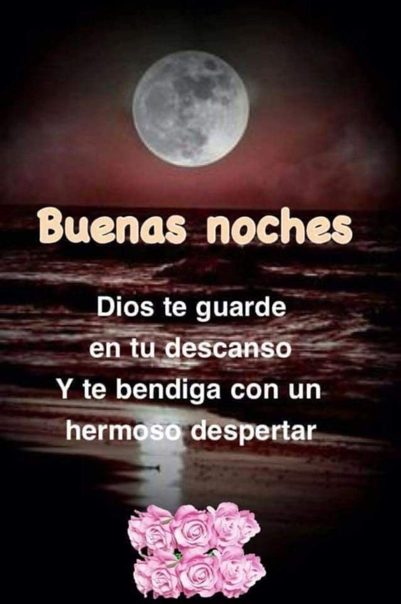 Buenas noches Dios te guarde en tu descanso y te bendiga con un hermoso despertar