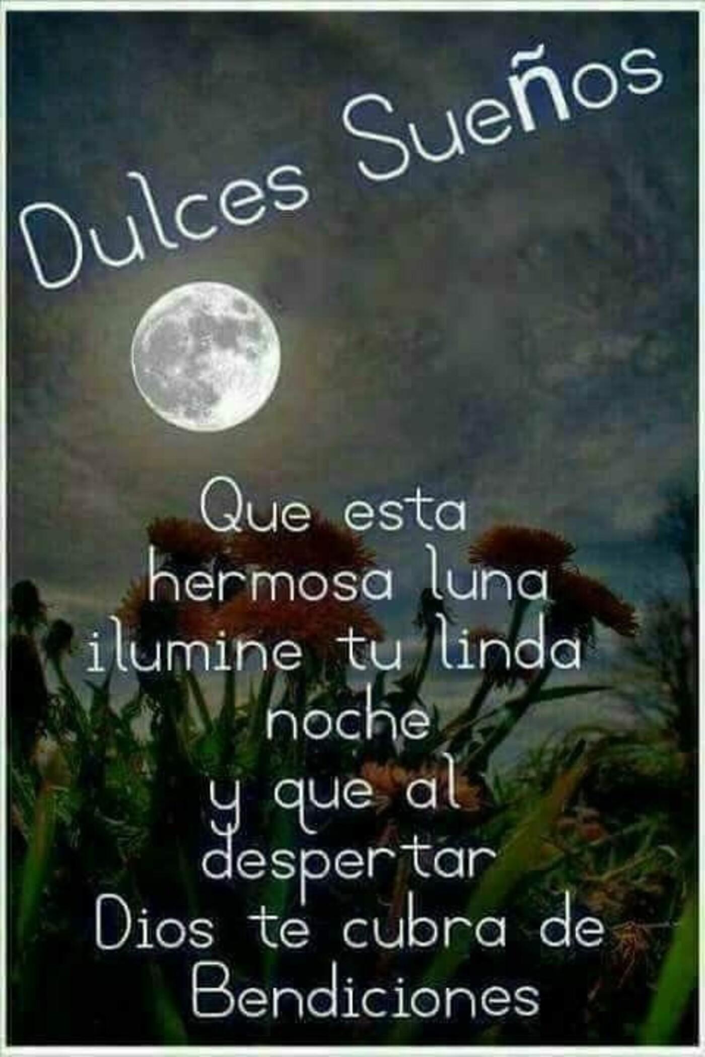 Dulces sueños que esta hermosa luna ilumine tu linda noche y que al despertar Dios te cubra de bendiciones!!
