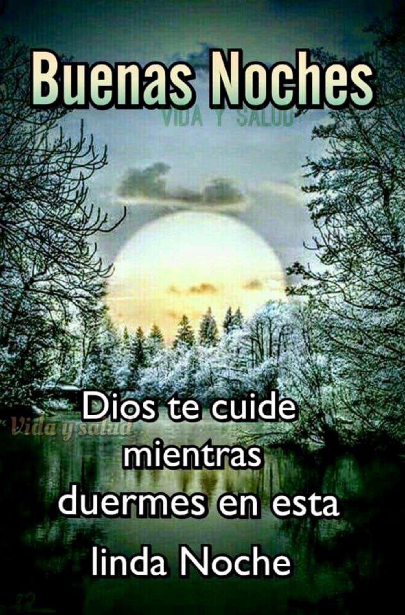 Buenas noches Dios te cuide mientras duermes en este linda noche