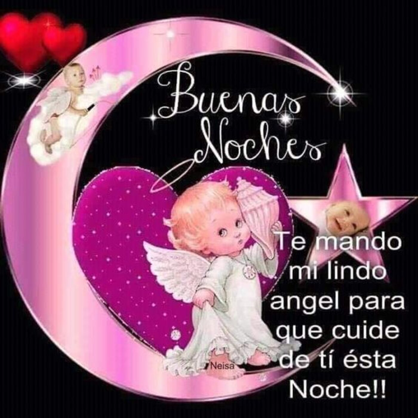 Buenas Noches te mando mi lindo ángel para que cuide de ti esta noche!!