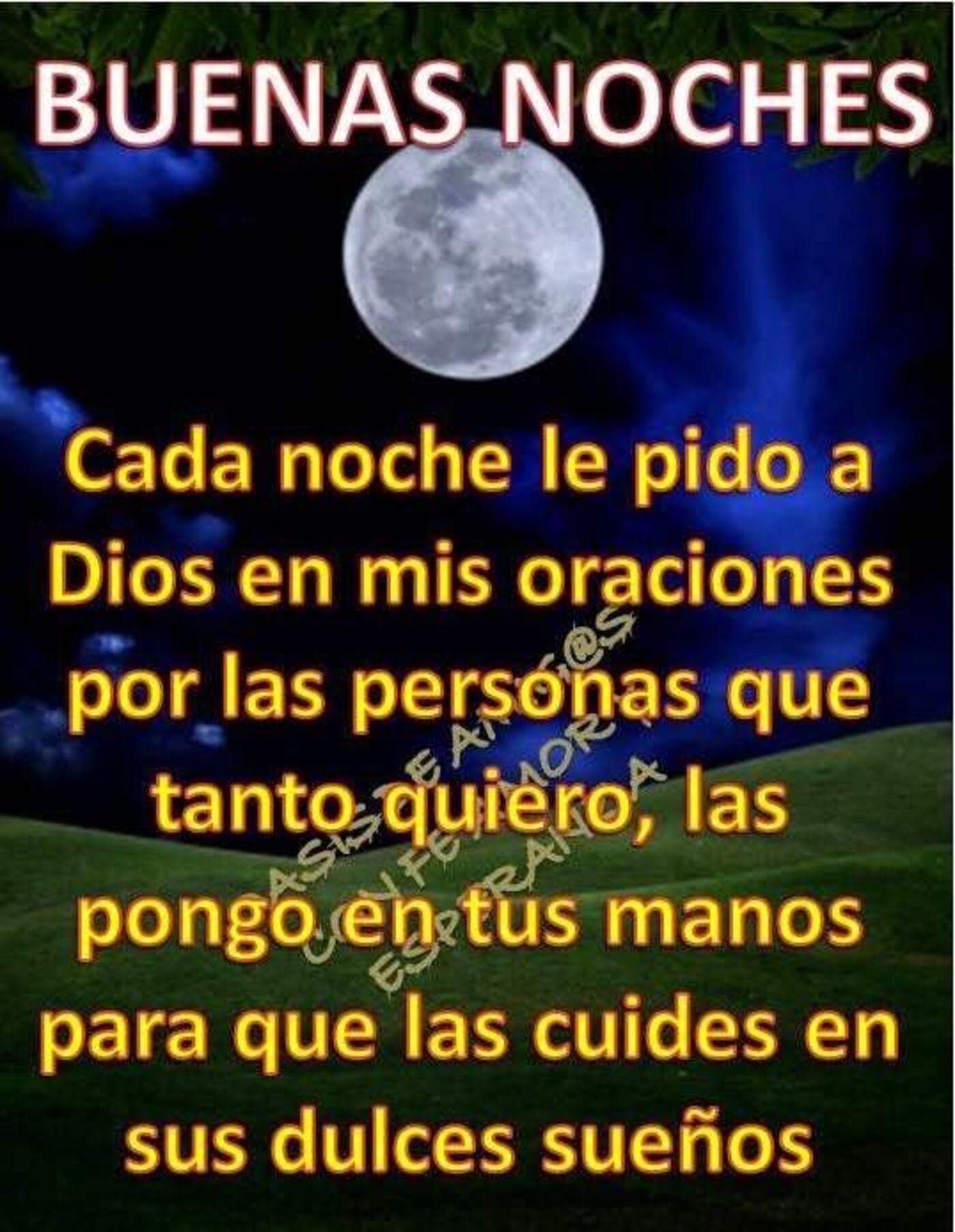 Buenas noches cada noche le pido a Dios en mis oraciones por las personas que tanto quiero, las pongo en tus manos para que las cuides en sus dulces sueños