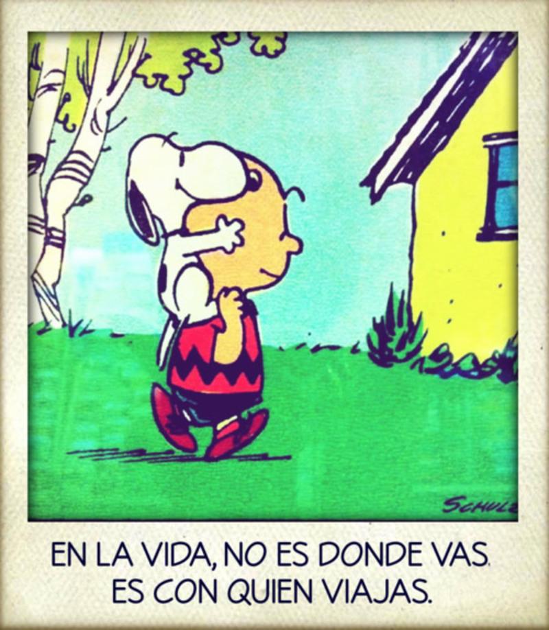 """""""En la vida no es donde vas. Es con quien viajas."""" - Frases de Amistad (Snoopy)"""